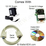 The WattsVIEW full kit includes serial extension cable, software install disk for windows or MAC, 12 V DC power supply with 2.5mm power connector