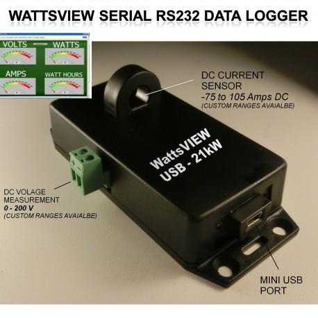 WattsVIEW 21kW  DC Voltage Amps Watts Power Datalogger